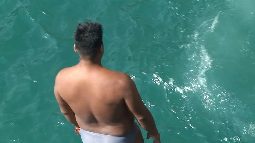 Quebrada cliff diver jump down the sea. Mexico, Acapulco.
