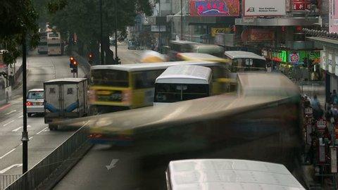 Hong Kong - Circa 2010: Hong Kong traffic in 2010. Timelapse of intersection traffic, Kowloon, Hong Kong.