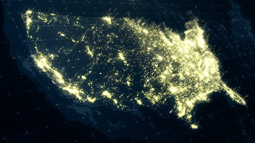 Map Of Us At Night Lights Usa Map Night Lighting. Animation Stock Footage Video (100