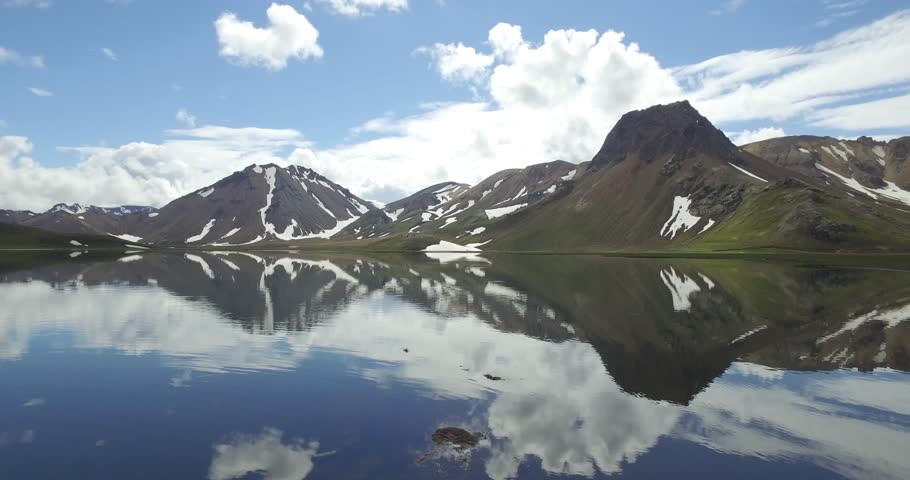 Stupendous drone shot of a lake near a mountain in Iceland     Shutterstock HD Video #22282870