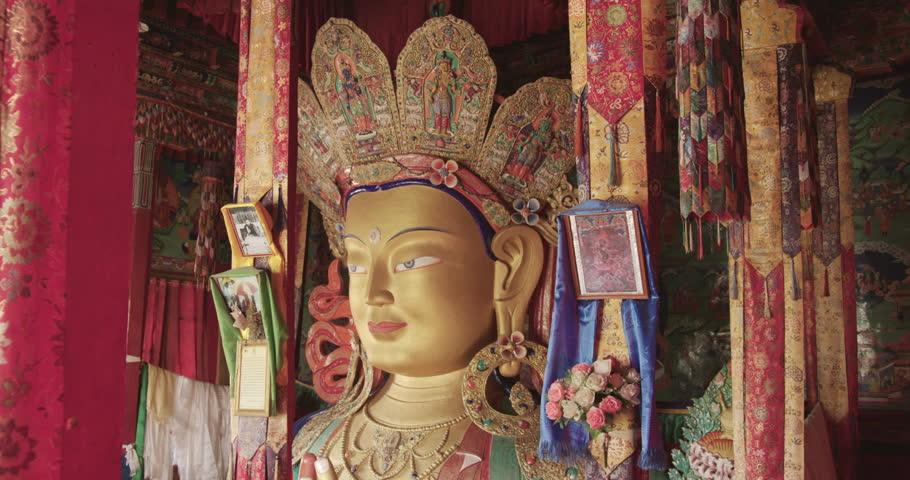Maitreya Buddha Statue in Thikse Monastery, Leh   Shutterstock HD Video #22290991