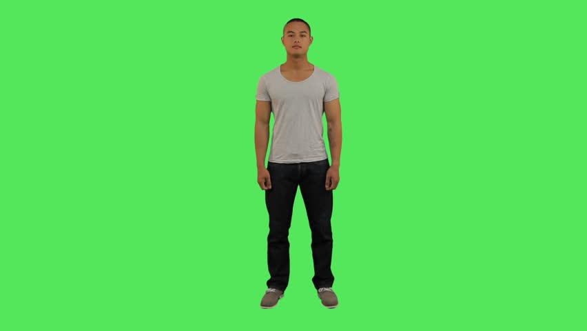 Portrait of male looking to camera , greenscreen  | Shutterstock HD Video #2229853