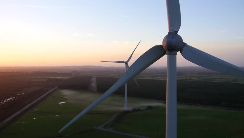 Aerial View of Wind farm in Offaly, Ireland | Shutterstock HD Video #22350655
