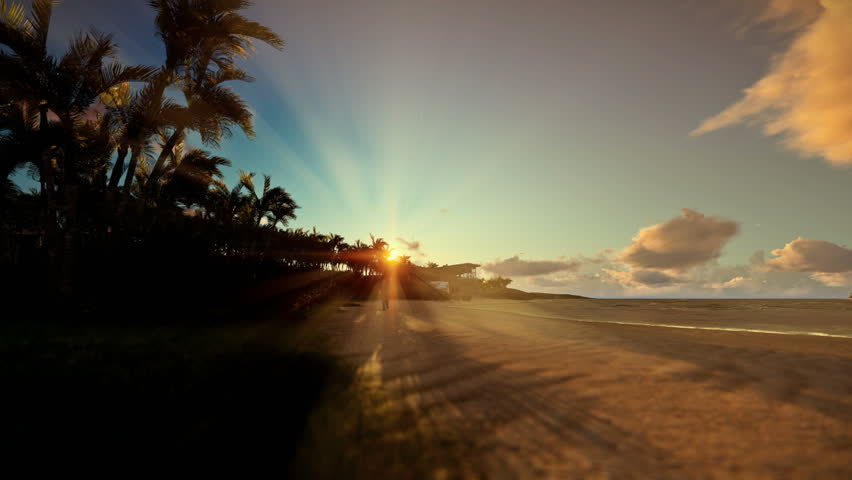 Little boy with airplane toy on a tropical beach at sunset | Shutterstock HD Video #22366477