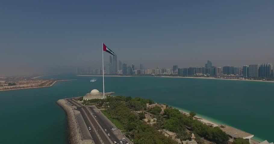 Abu Dhabi UAE Flag approaching by drone