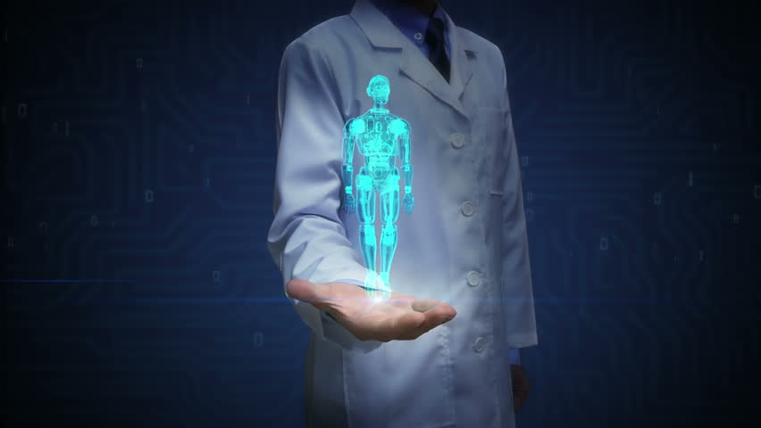 Doctor open palm, Rotating blue transparency 3D robot body.X-ray image.Artificial intelligence.robot technology.