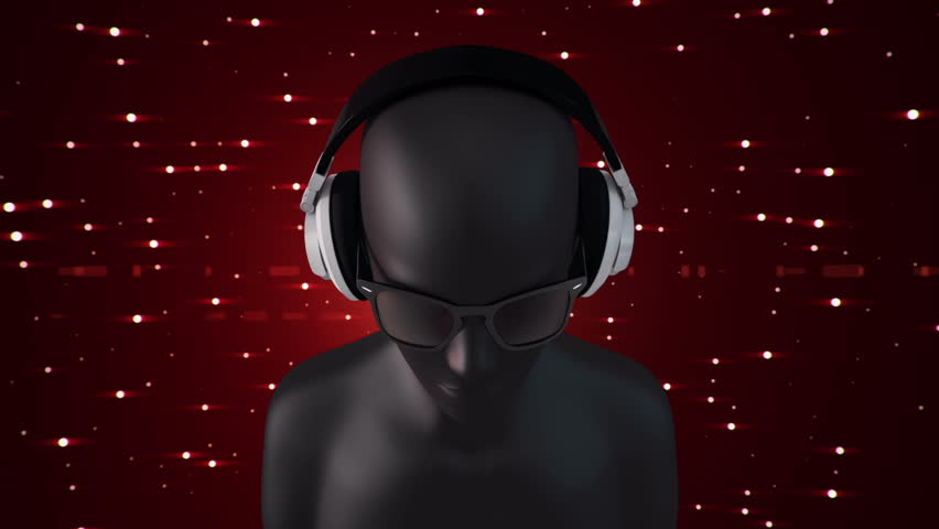 Background with abstract human in headphones listening music. Human in red eyeglasses. Animation of seamless loop. #22389934
