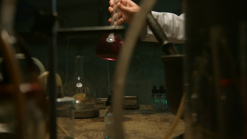 Strange scientist prepares a potion