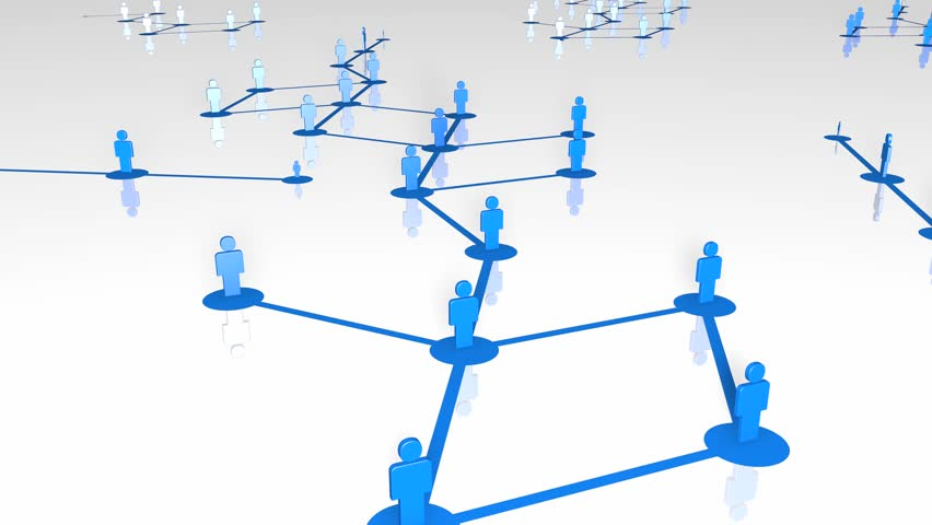 Network growing, creating blue connections. 3D Rendering with reflectance on floor.   Shutterstock HD Video #22391545