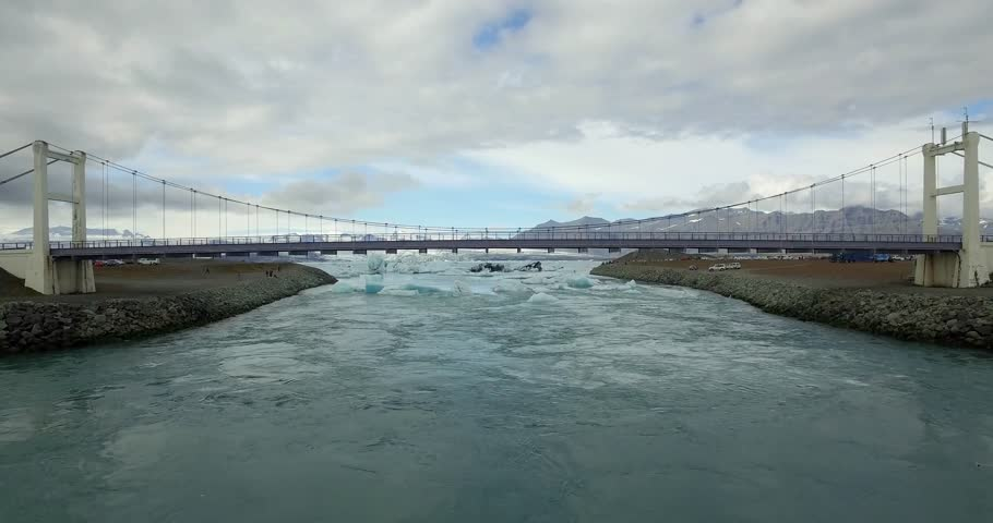 Beautiful aerial drone shot of a bridge across a river with glacier in Iceland  | Shutterstock HD Video #22401736
