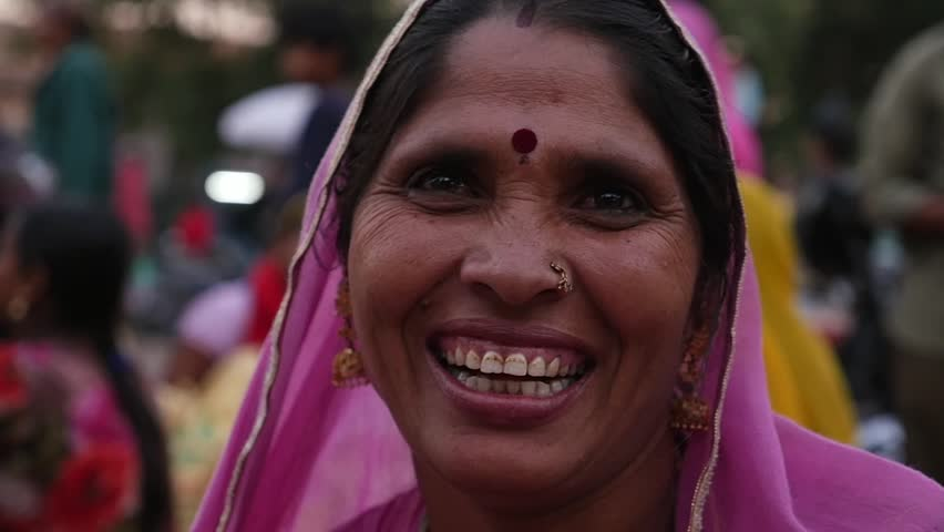 Portrait of happy Woman in Jodhpur, India - Slow Motion   Shutterstock HD Video #22405399