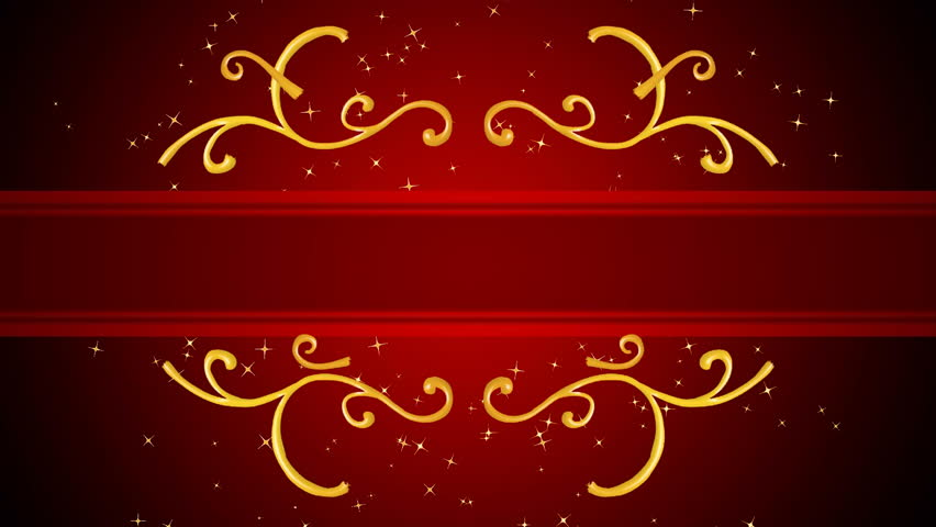 Growing golden elements forming a title framing, red background with golden sparks. HD CG animation. This version is the shorter one, with golden sparks vanishing in the end...