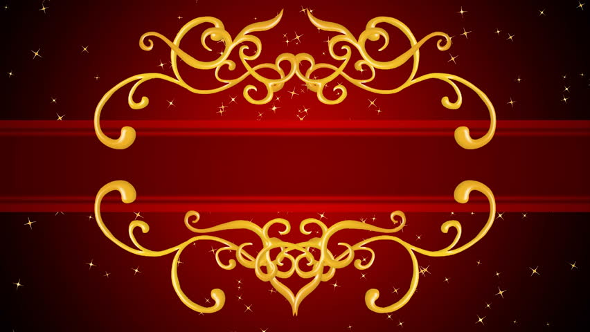 Growing golden elements forming a title framing, red background with golden sparks. HD CG animation. This version is the long one, with golden sparks until the end...