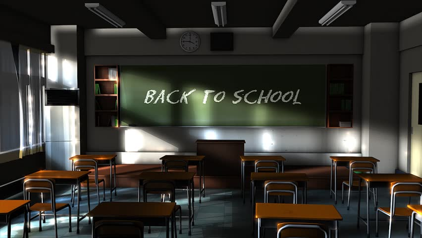Empty school classroom with back to school writing text on the blackboard.