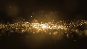 Background gold movement. Universe gold dust with stars on black background. Motion abstract of particles. VJ Seamless loop.