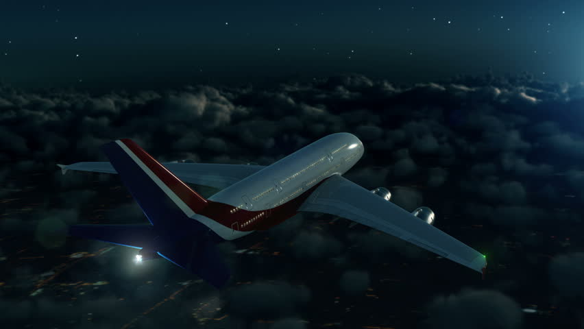 Commercial airplane flying above clouds at night with stars and moonlight #22423897