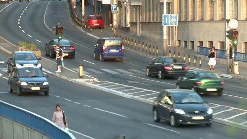Belgrade, Serbia. Circa September 2011: Traffic in the city during sunset