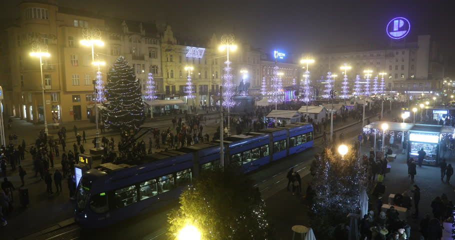 Tourists and visitors walk on the streets in downtown Zagreb, during the Christmas Market, 18 December 2016 as Zagreb won first places as the best Europe's Advent destination.