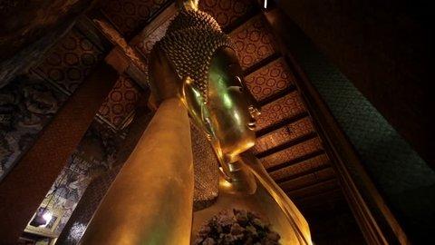 CIRCA 2010: WS TD LA Gold reclining Buddha / Wat Pho temple, Bangkok, Thailand