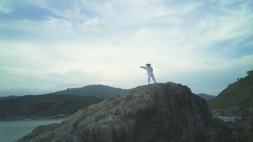Practical exercises of kung fu for body and spirit over cloudy sky | Shutterstock HD Video #22481494