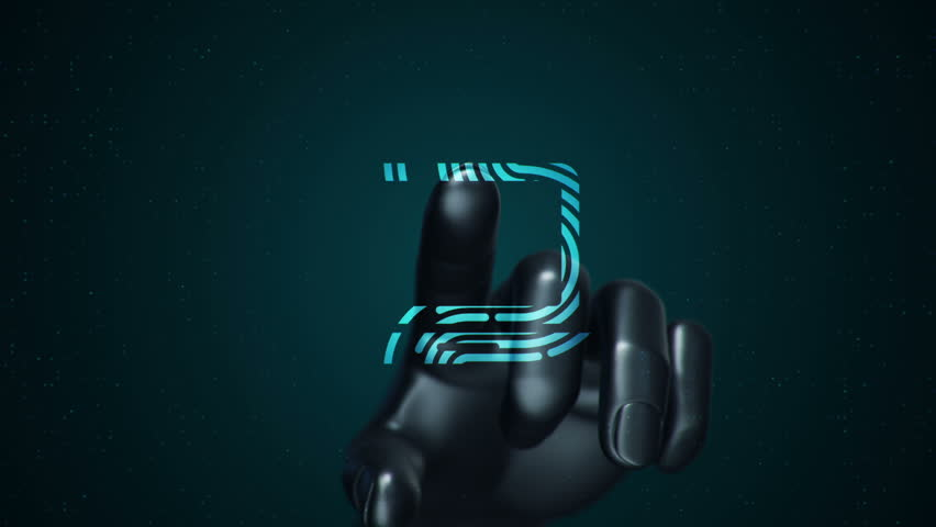 Animation touching finger of abstract human hand to touch screen and scanning tech symbol as fingerprint. Animation of seamless loop. | Shutterstock HD Video #22482850