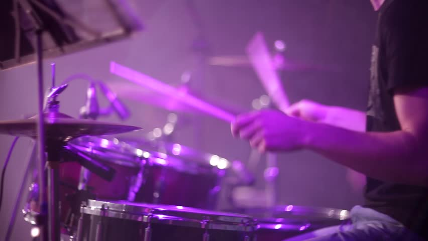 Concert rock band performing on stage. Drummer | Shutterstock HD Video #22483843