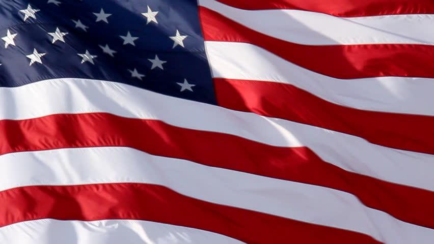 American Flag Slow Waving. Close up of American flag waving. Filmed at 60 fps