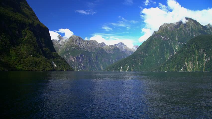 New Zealand National Landmark Mitre Peak in scenic holiday destination of Milford Sound Piopiotahi Fjord South Island   Shutterstock HD Video #22492264
