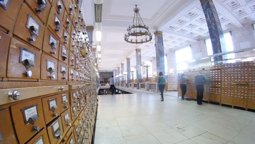 MOSCOW - MAR 21: (Timelapse View) People pass card file in Lenin Russian state library, March 21, 2012 in Moscow, Russia. This library is the largest in the country and the third largest in the world for its collection of books (17.5 million).   Shutterstock HD Video #2249293