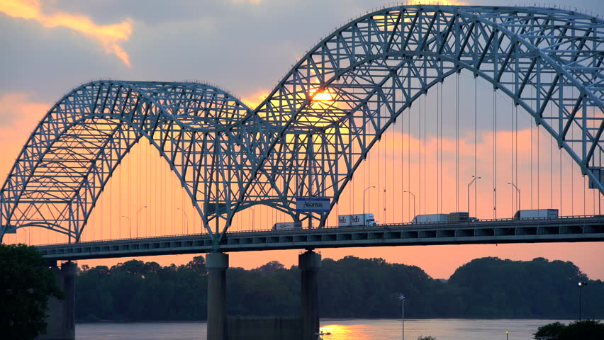 Sunset view of the New Bridge a Multi lane Highway in Southern Tennessee on Interstate 40 across the Mississippi River USA
