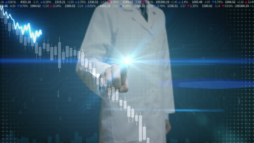 Researcher engineer touched screen, various animated Stock Market charts and graphs. decrease line. Artificial Intelligence | Shutterstock HD Video #22513978