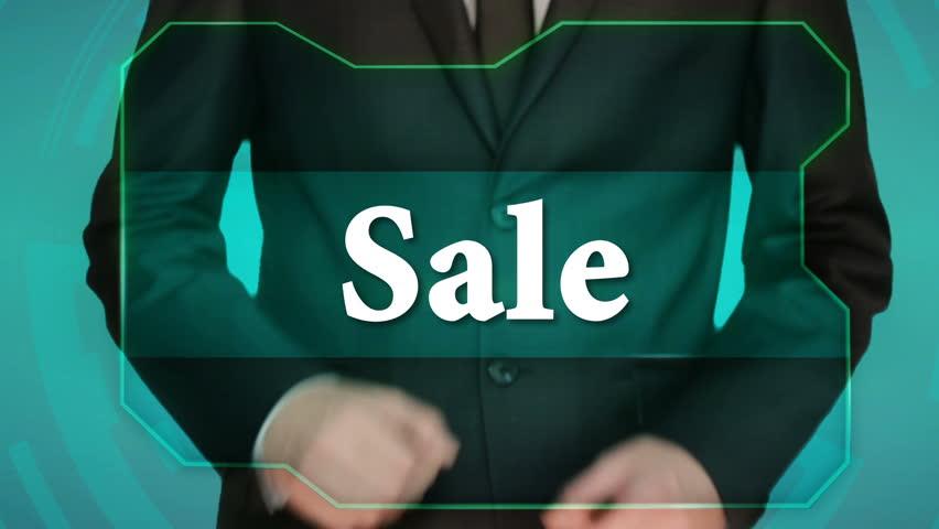 Business man push reverse button on touch screen. inscription sale | Shutterstock HD Video #22515973