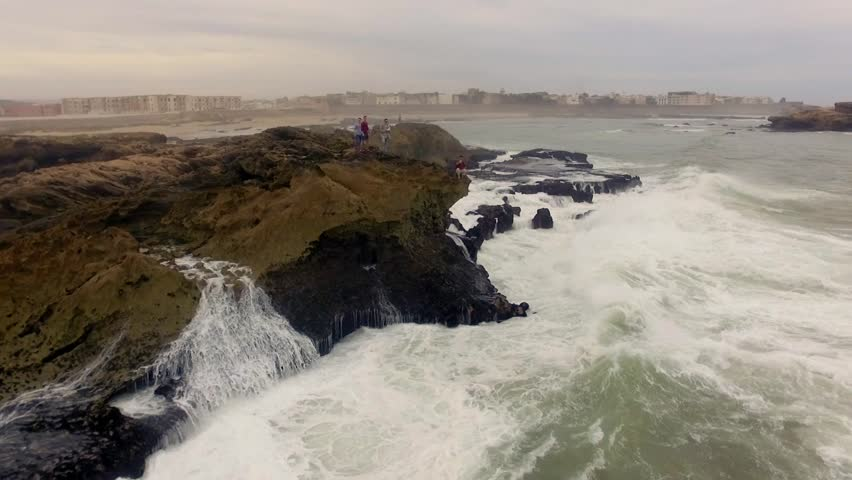 Morocco: Aerial view of the coast/cliffs in Essaouira near Marrakech/Marrakesh in Morocco, Africa filmed by a drone 5/6