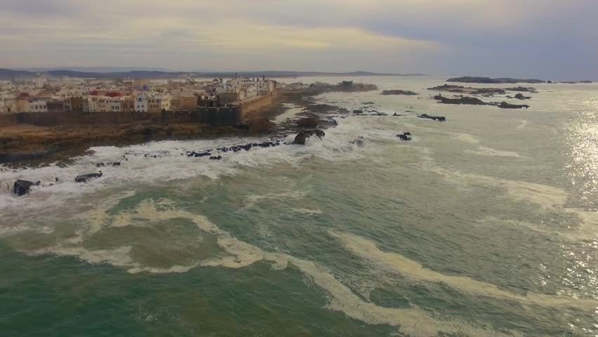 Morocco: Aerial view of the coast/cliffs and medina of Essaouira near Marrakech/Marrakesh in Morocco, Africa filmed by a drone 3/3