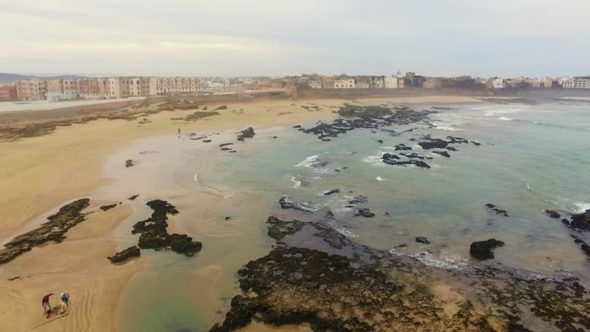 Morocco: Aerial view of the coast/cliffs in Essaouira near Marrakech/Marrakesh in Morocco, Africa filmed by a drone 1/6