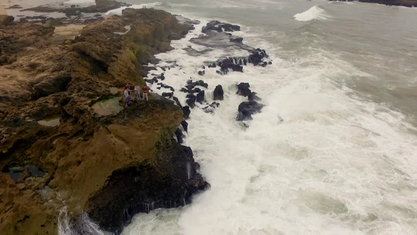 Morocco: Aerial view of the coast/cliffs in Essaouira near Marrakech/Marrakesh in Morocco, Africa filmed by a drone 6/6