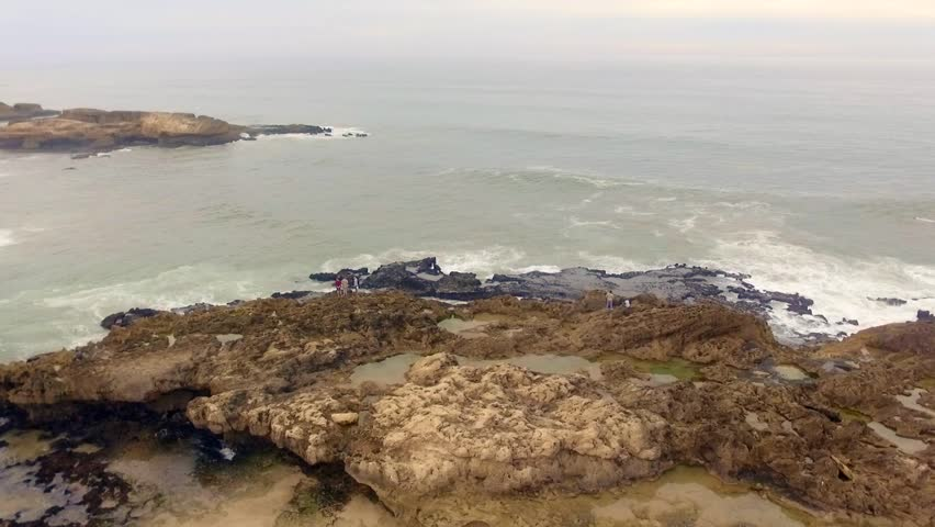 Morocco: Aerial view of the coast/cliffs in Essaouira near Marrakech/Marrakesh in Morocco, Africa filmed by a drone 3/6
