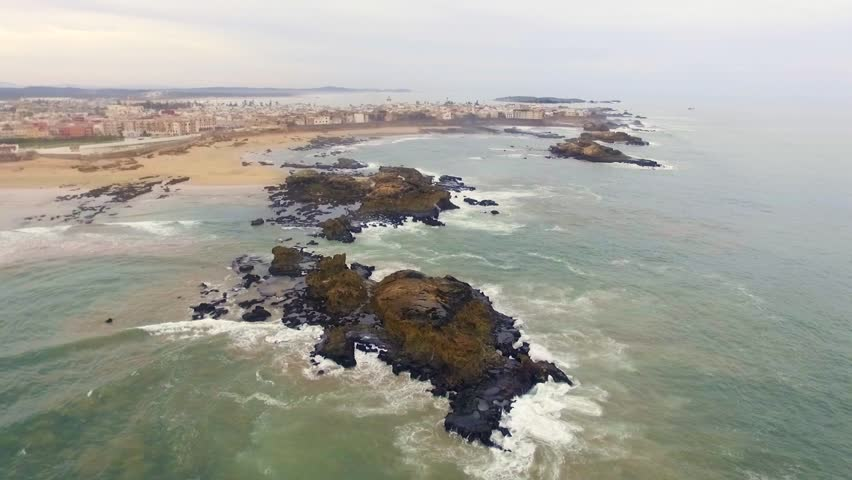 Morocco: Aerial view of the coast/cliffs in Essaouira near Marrakech/Marrakesh in Morocco, Africa filmed by a drone 4/6