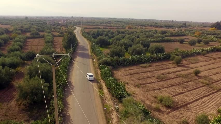 Morocco: Aerial view of the landscape and desert in Marrakech/Marrakesh in Morocco, Africa filmed by a drone 2/2