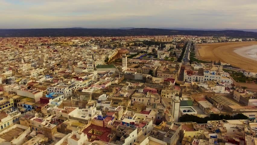 Morocco: Aerial view of the city of Essaouira near Marrakech/Marrakesh in Morocco, Africa filmed by a drone 1/2