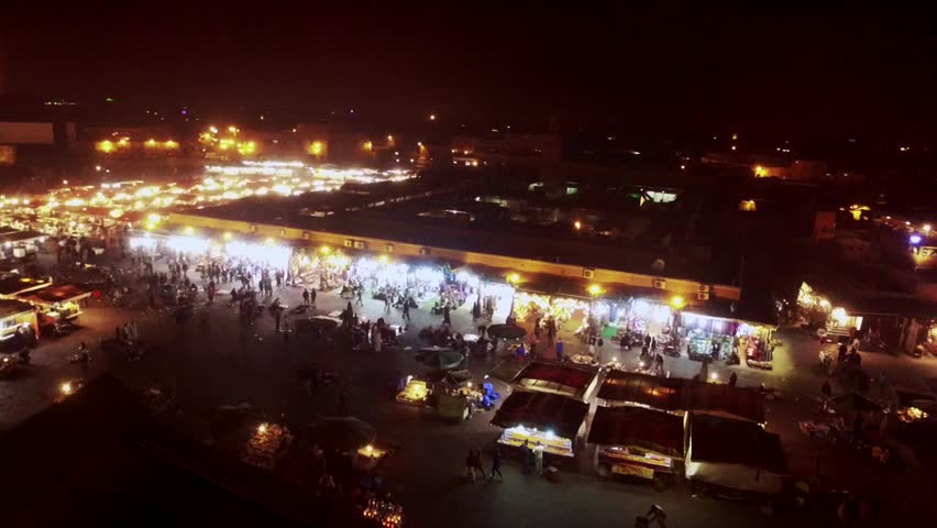 Morocco: Aerial view of Jemaa el-Fnaa or Djemaa el-Fnaa or Medina of Marrakech/Marrakesh in Morocco, Africa filmed by a drone