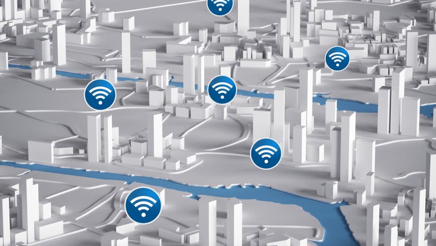 Aerial View of City Buildings 3D Rendering With Blue Wifi Icon Map 4K Animation  | Shutterstock HD Video #22522615