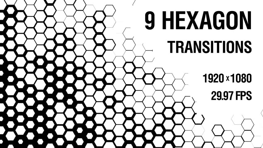 Nine black and white Luma Matte Hexagon Transitions. Motion graphics package with 9 unique fullHD transitions. These clips are suitable for any video editing software that supports QuickTime format.