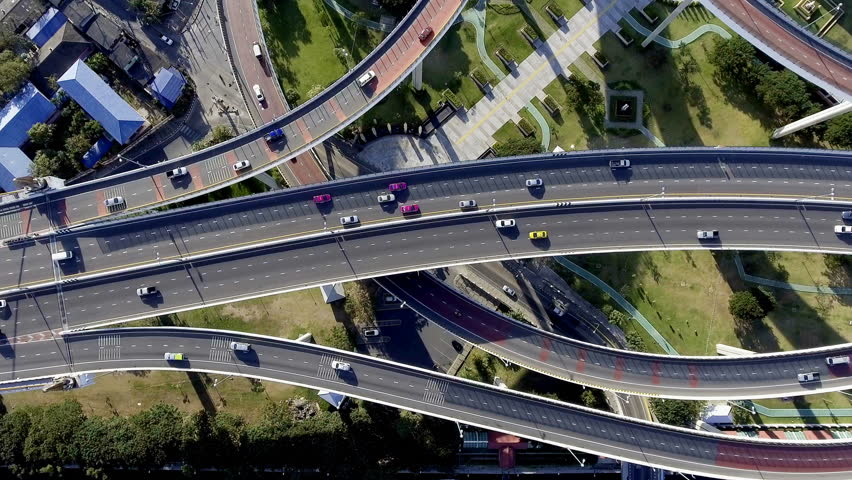 Aerial view of bangkok busy highway taken in afternoon, useful for engineering, industrial, transportation concept   Shutterstock HD Video #22546243