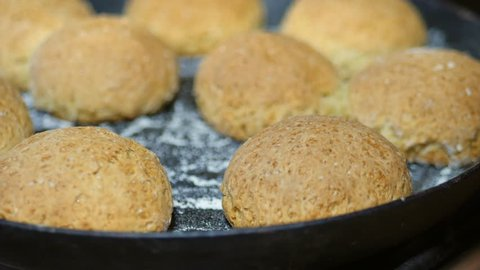homemade pies, ruddy balls in the oven 4K