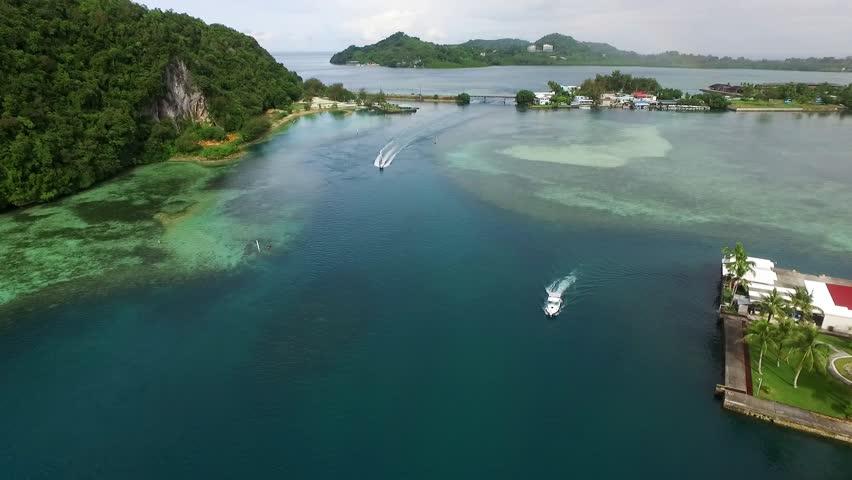 KOROR, PALAU - DECEMBER 08, 2016: Koror Island ir Palau Islands. Long Beach. Palau is an archipelago of over 500 islands, part of the Micronesia region in the western Pacific Ocean | Shutterstock HD Video #22602262