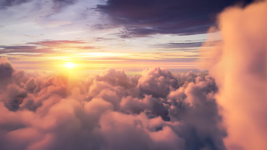 Flying over the evening timelapse clouds with the late sun. Seamlessly looped animation. Flight through moving cloudscape with beautiful sun rays. Perfect for cinema, background, digital composition