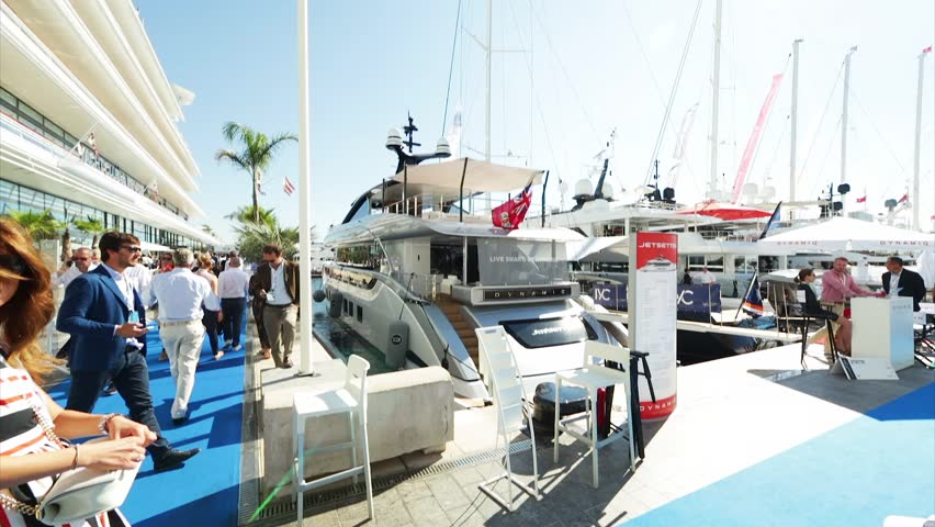 Monaco, Monte-Carlo, 30 September 2016: World Fair MYS Monaco Yacht Show, Port Hercules, luxury megayachts, many shuttles, taxi boat, presentations, Journalists, boat traffic, Azur water #22611853