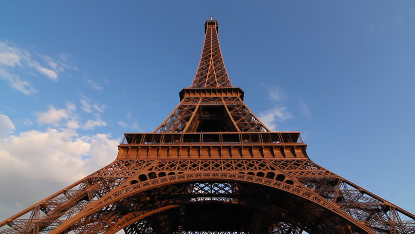 Eiffel Tower. Timelapse. Wide angle timelapse view of Eiffel Tower in Paris, France. Clouds moving past. #2263868