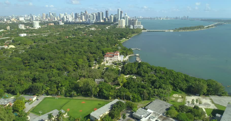 COCONUT GROVE - DECEMBER 28: Aerial video Villa Vizcaya Gardens and historical museum located at 3251 S Miami Ave December 28, 2016 in Coconut Grove, FL, USA